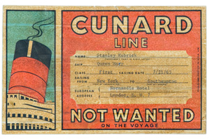 Cunard Line tag for Stanley Kubrick's boxes