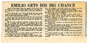Emilio gets his big chance, newspaper cutting