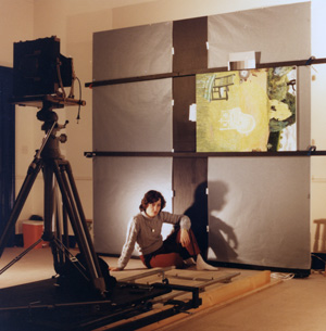 Marisa D'Alessandro photographing Christiane Kubrick's paintings